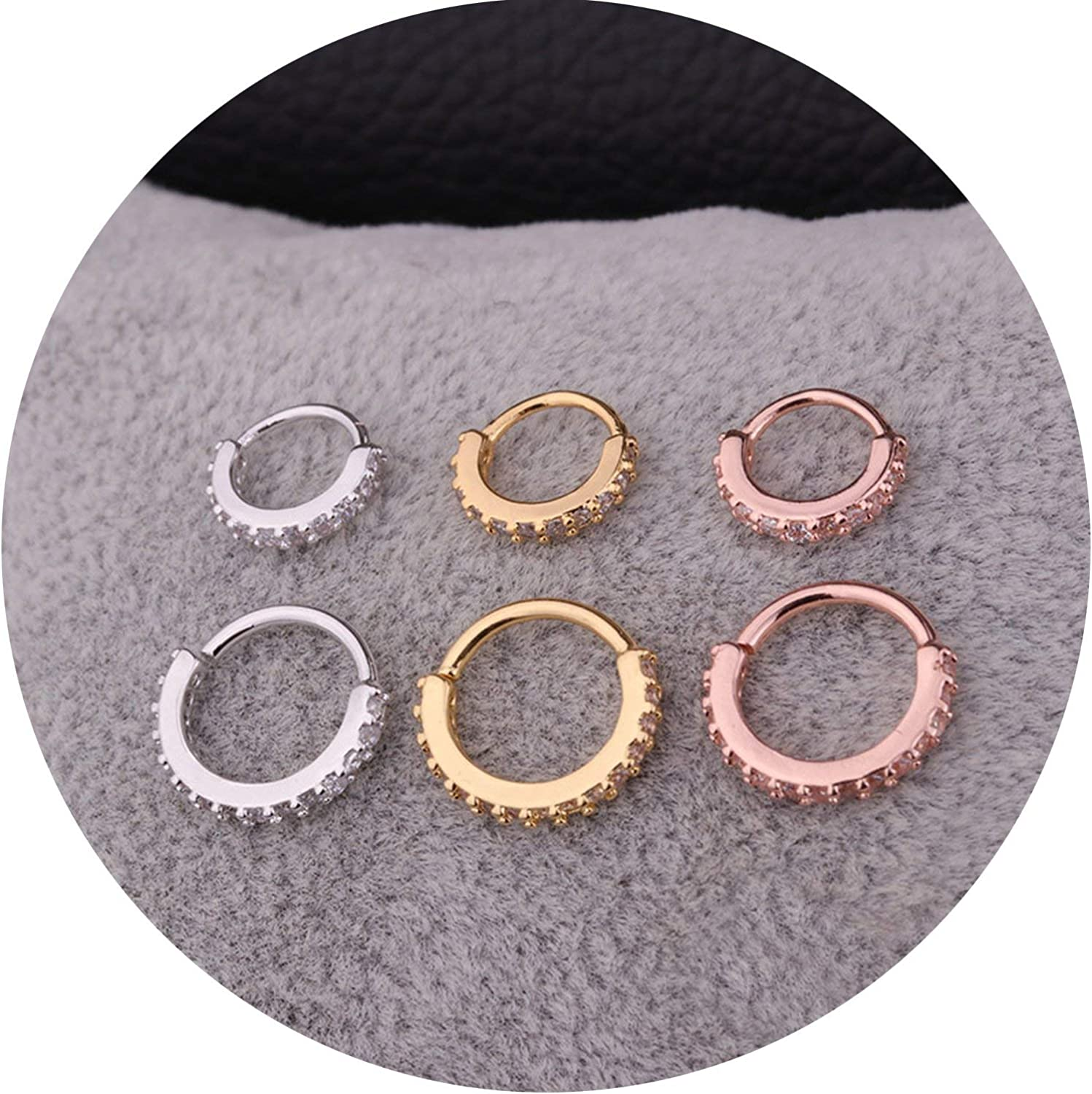 1PC Silver And Gold Color Cz Nose Hoop Helix Cartilage Earring Daith Snug Rook Tragus Ring Ear Piercing Jewelry,8mm,yellow gold