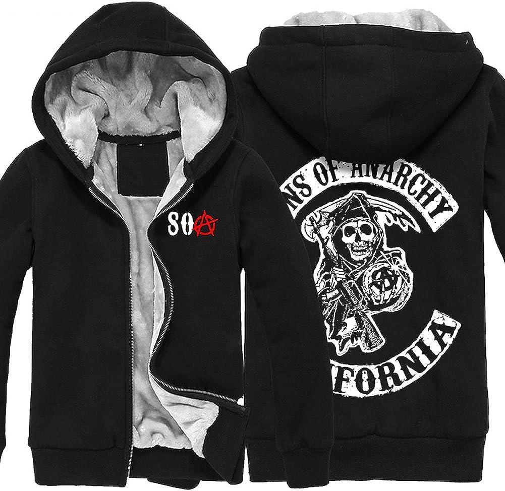 Mesky EU Sweat-Shirt /À Capuche Adulte Sons of Anarchy Hoodie Fashion Mens Black Thicken Cotton Winter Zip Up Coat Homme Femme Noir M