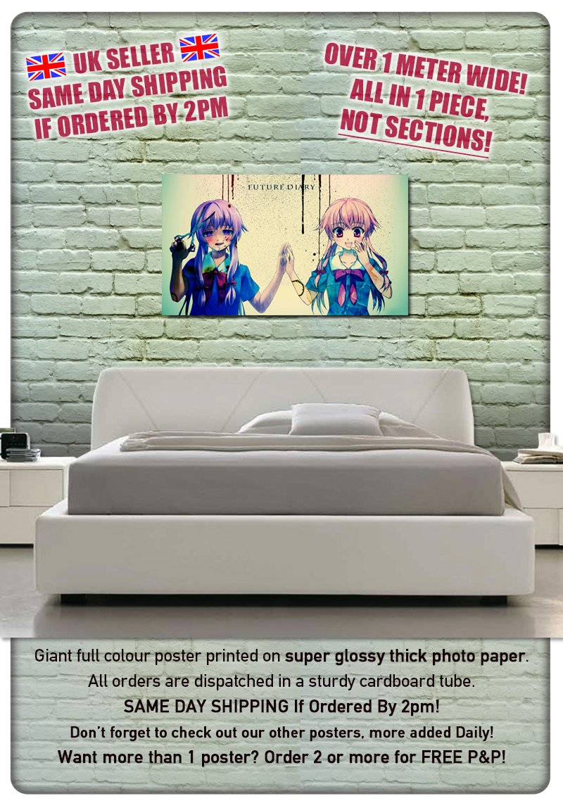 ***UK SELLER BDP Manga Anime Mirai Nikki Casai Yuno SAME DAY SHIPPING*** 13 Over 1 Meter Wide Glossy Poster Art Print XXL ONE PIECE NOT SECTIONS