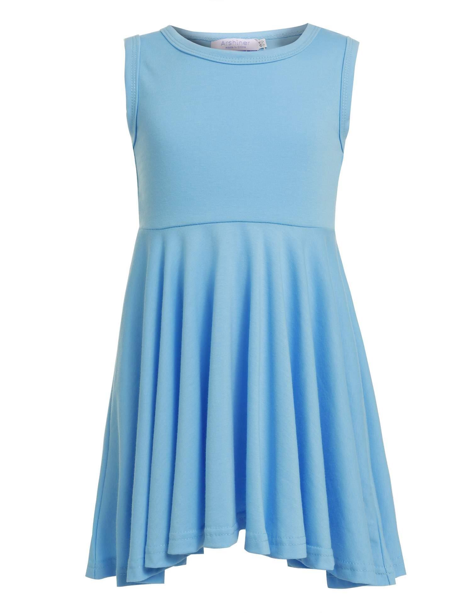 balasha Girls O-Neck Solid Color A-line Ruffled Sleeveless Summer Dress