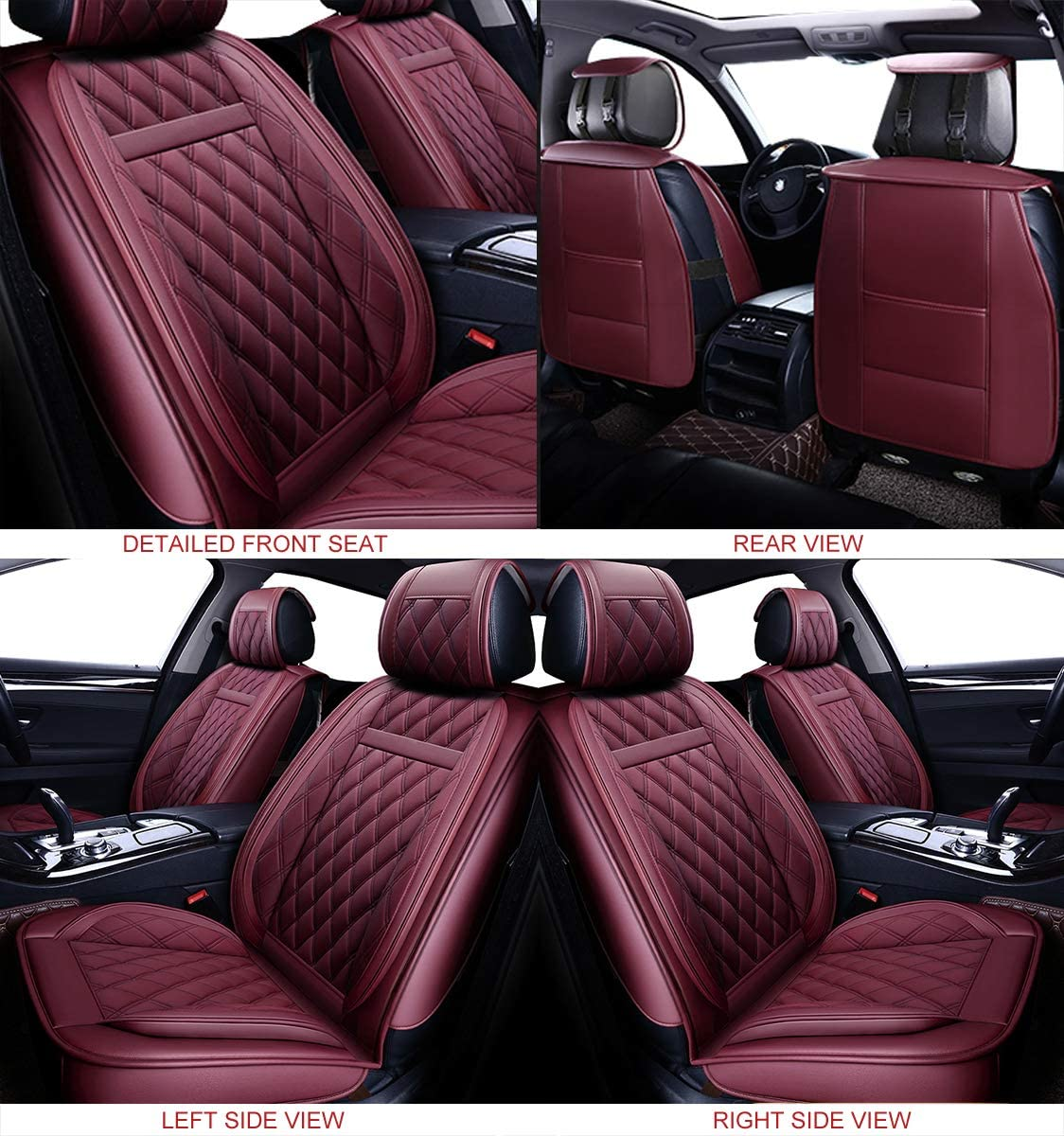 Full Set, Brown OASIS AUTO OS-001 Leather Car Seat Covers Faux Leatherette Automotive Vehicle Cushion Cover for Cars SUV Pick-up Truck Universal Fit Set for Auto Interior Accessories