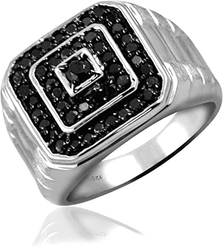 Black Diamonds Sterling Silver Mens Ring Jewelexcess 1.00 Carat T.W