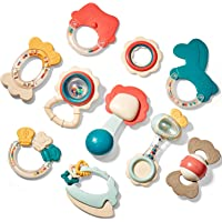 Baby Toys 3-6 Months Baby Rattle Teething Toys for Babies 0-6-12 Months 10PCS, Multisurface Texture Teethers with…