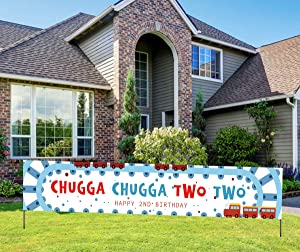 Train Theme 2nd Birthday banner, Happy 2nd Birthday Banner, Chugga Chugga Two Two Banner, Train Theme Birthday Party Decorations for Boys Girls