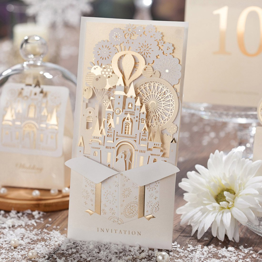 Wishmade Wedding Invitations Set of 50PCS with Champagne Gold Laser ...