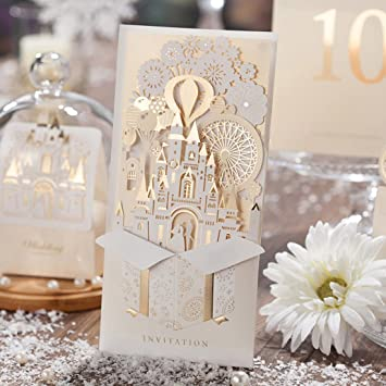 Wishmade Wedding Invitations Set Of 50PCS With Champagne Gold Laser Cut Party Invites Cards Engagement Marriage