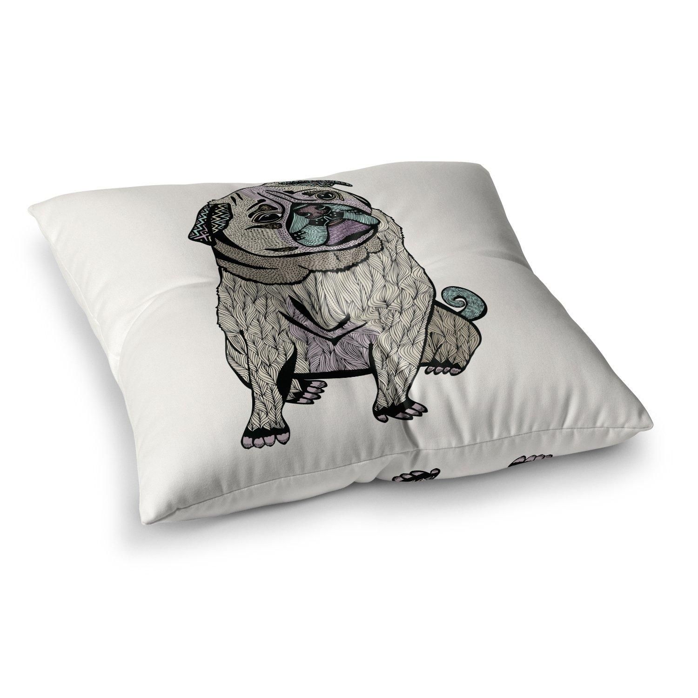 26 x 26 Square Floor Pillow Kess InHouse Pom Graphic Design Ares The Pug Black Multicolor