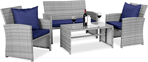 Best Choice Products 4-Piece Wicker Patio Conversation Furniture Set w/ 4 Seat