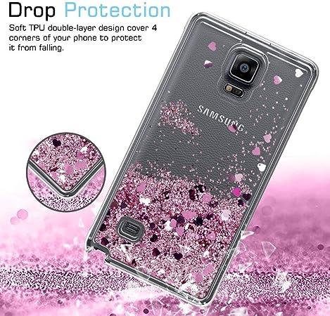 LeYi Coque Galaxy Note 4 Etui avec Film de Protection écran, Fille Personnalisé Liquide Paillette Flottant Transparente 3D Silicone Gel Antichoc ...