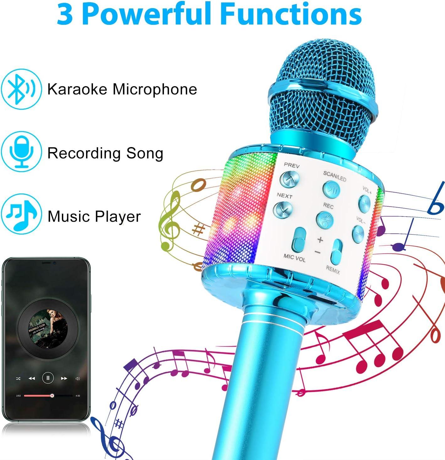 Fede Micrófono Karaoke Bluetooth, Microfono Inalámbrico Karaoke Portátil con luz LED multicolor para Niños Canta Partido Musica, Compatible con Android/iOS PC o Teléfono Inteligente: Amazon.es: Instrumentos musicales