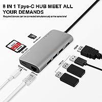 "USB C HUB, MixMart tipo C adaptador a 50Gbps para MacBook Pro / Air 2018/2017/2016 13 ""15"" Windows-XP / 2003/2000/7/8/10, 8en1 USB-C 100W Power Delivery, USBC 5Gbps Data, 4K HDMI, Gigabit Lan, lector de tarjetas micro SD / SD, 3xUSB 3.0 puertos gris (8 en 1)"