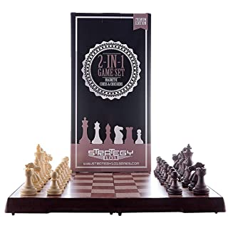 Chess Set Checkers Game Board - 2 in 1 Folding Magnetic Chess Game. Great Travel Chess Set Strategy Game is 12.5 x 12.5, International Chess Set, Instructions Introduction Sent in PDF