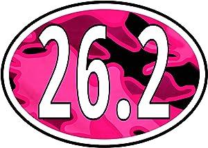 Pink Camo 26.2 Marathon Sticker - Run-ning Girl Premium Vinyl Decal | For Cars Bumper Window Bottle Hydro-Flask Laptop UV-Resistant + Better than a Magnet - Camouflage Women Run-ner (4 x 3 Inch Large)