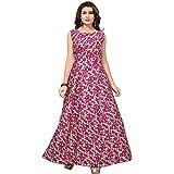 Clothfab Women's Bangalori Silk Digital Printed Anarkali Semi-Stitched Long Gown