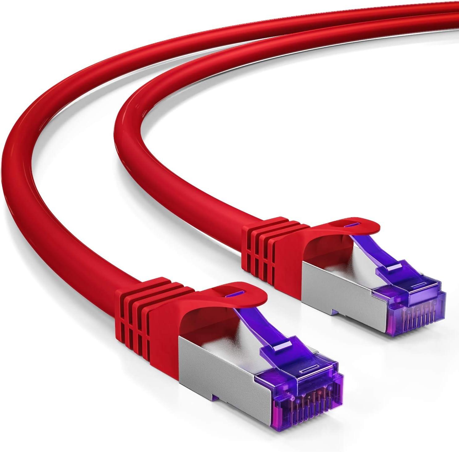 deleyCON 5X 2m RJ45 Cable de Conexi/ón Ethernet /& Red con Cable en Bruto CAT7 S-FTP PiMF Blindaje Gigabit LAN SFTP Cobre DSL Conmutador Enrutador Patch Panel Colorido
