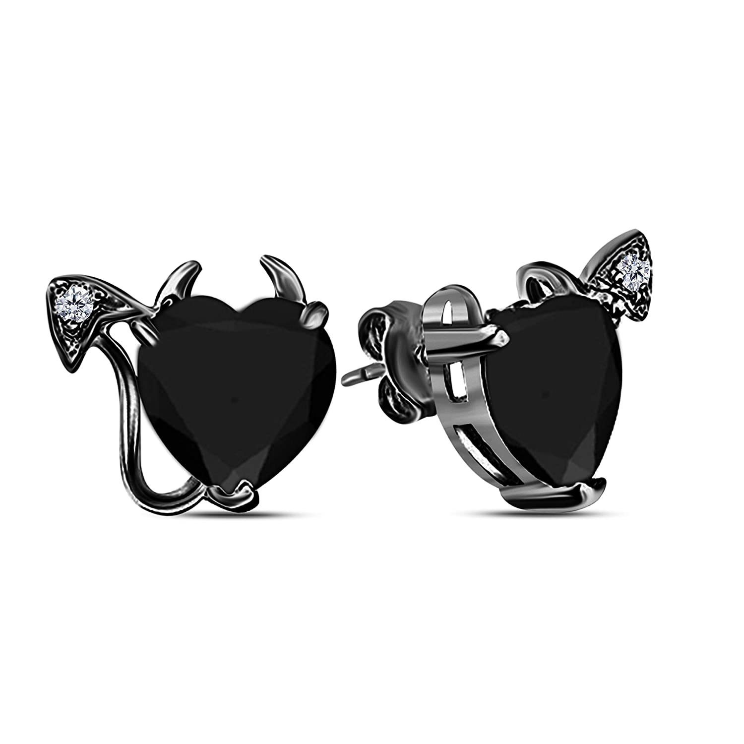 Gothic Vampire Bat .925 Sterling Silver 14k Black Gold Plated Black CZ Diamond Pendant Necklace /& Earrings Fashion Jewelry Set for Women Best Gift for Wife Girlfriend
