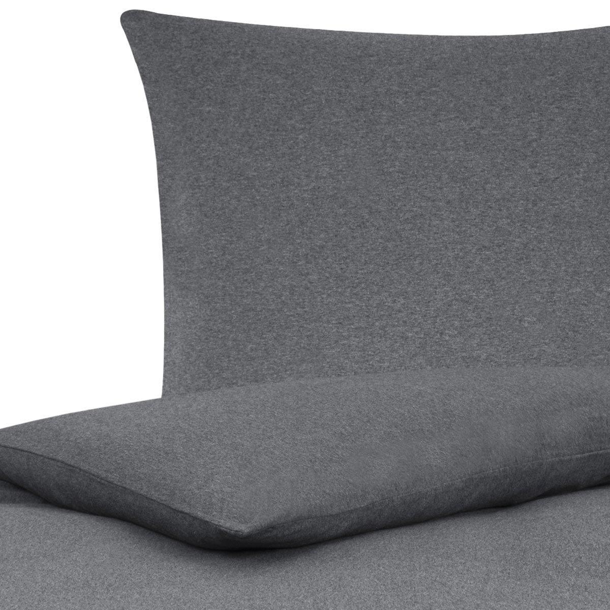 Traumschlaf Uni Jersey Melange Bettwäsche anthrazit 240x220 cm + 2X 80x80 cm