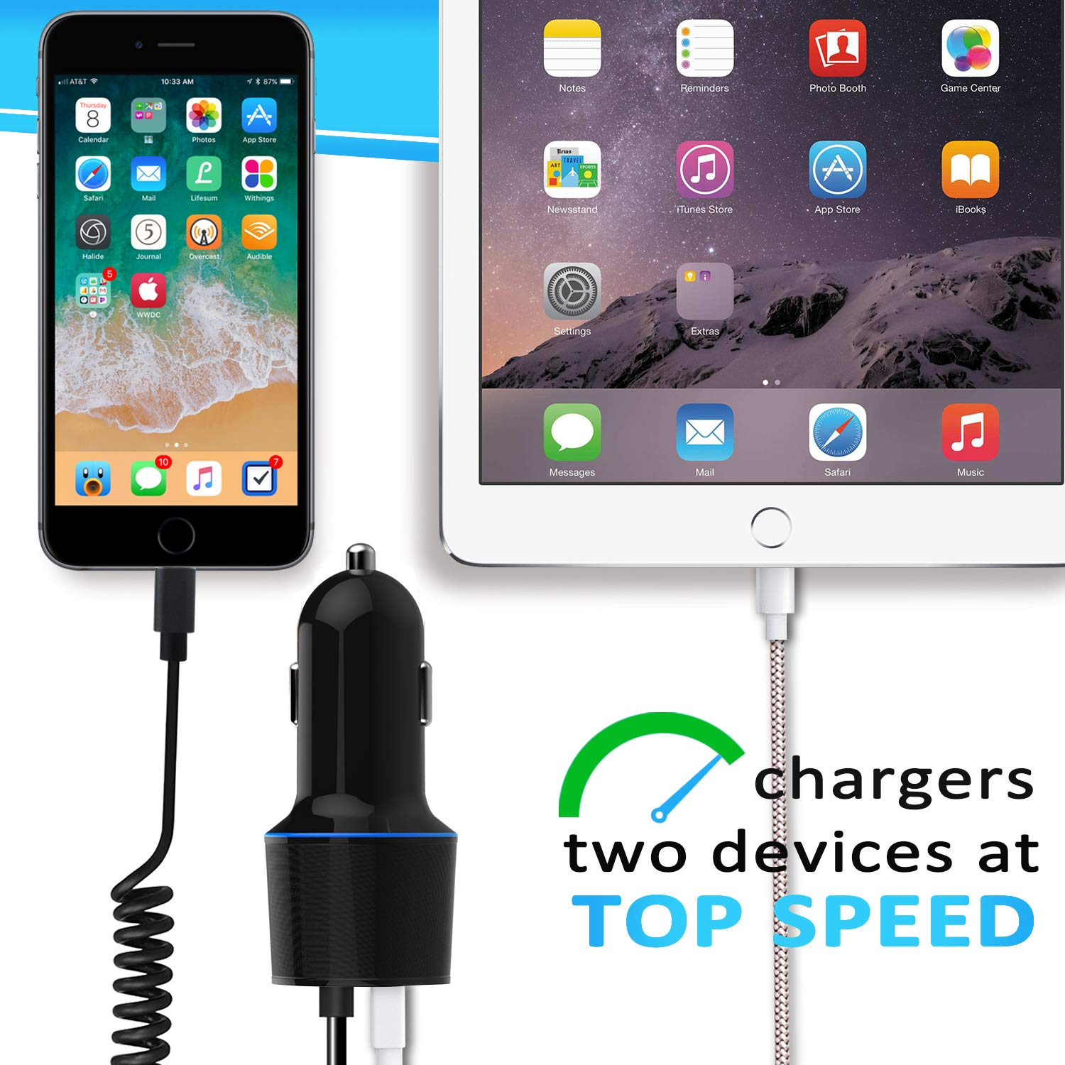 7//6 6s //6s,iPad More,Sngg 4.8A Rapid Phone Car Charger 5ft Coiled Charging Cable,More Extra USB Port Black iPhone Car Charger 8//8 Plus Car Charger Compatible iPhone XR//XS//MAX//X