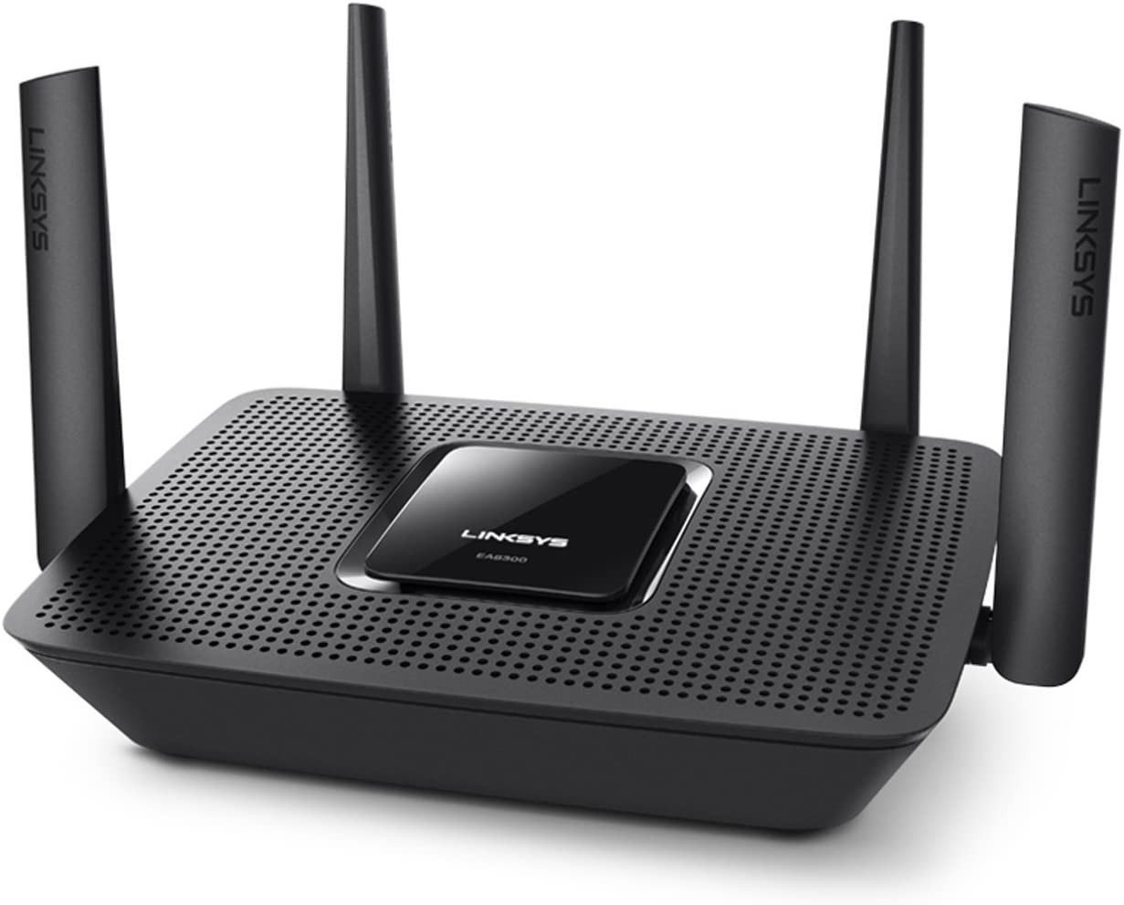 Linksys EA8300 - Router Wi-Fi AC2200 Tri-Banda MAX-Stream (MU-MIMO, 4 Antenas, Beamforming, 4 x Gigabit Ethernet, 1 x USB 3.0) Color Negro