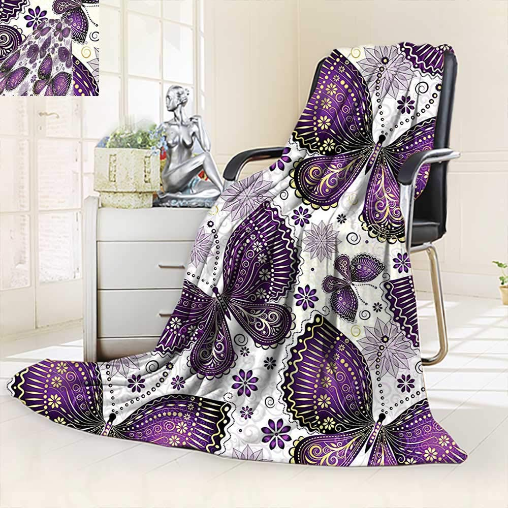 vanfan All-Season Super Soft Blanket India Asian Butterflies Paisley Motif on Wings Flowers Art Plum Purple Lilac,Silky Soft,Anti-Static,2 Ply Thick Blanket. (60''x50'')