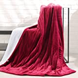 """MaxKare Electric Blanket Heated Throw Flannel & Sherpa Reversible Fast Heating Blanket 50"""" x 60"""", ETL Certification with…"""