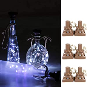 VOOKRY Solar Powered Wine Bottle Lights, 6 Pack 20 LED Waterproof Outdoor Solar Fairy String Cork Lights for Wedding Christmas,Holiday, Garden, Patio Tabletop Decor (Cool White)