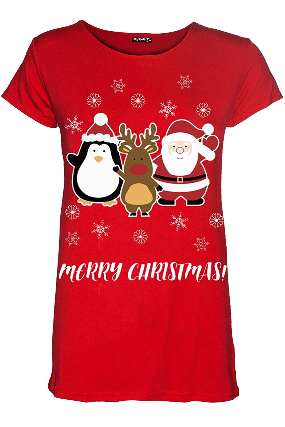 Oops Outlet Womens Ladies Christmas Penguin Santa Reindeer Xmas Cap Sleeve T Shirt Tee Top BE JEALOUS