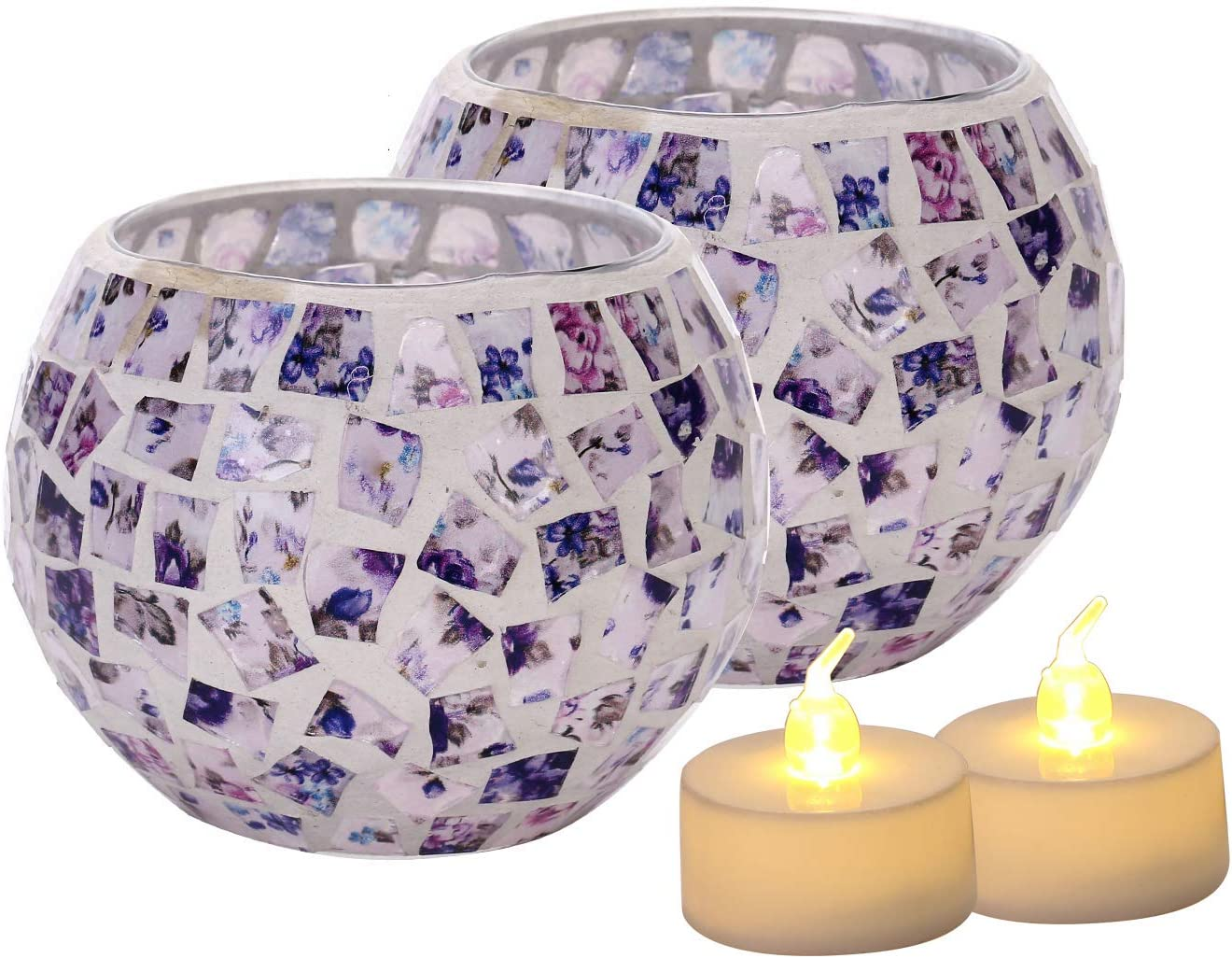 Votive Candle Holder Centerpiece, Mosaic Glass Tealight Holders for Home Decor, Table, Party Decorations, Handmade Gifts for Her, Vase for Potted Plants Bowl, Set of 2 (Purple Mosaic x 2)