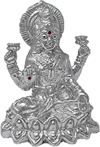 CaratCafe Maa Laxmi Lakshmi Ma Idol Pure Silver 999 Statue,BIS Hallmark Certified for Puja Temple Good Luck Gift & Home Decor { NET WT 20 GMS } [2.2 x 1.6 Inch]