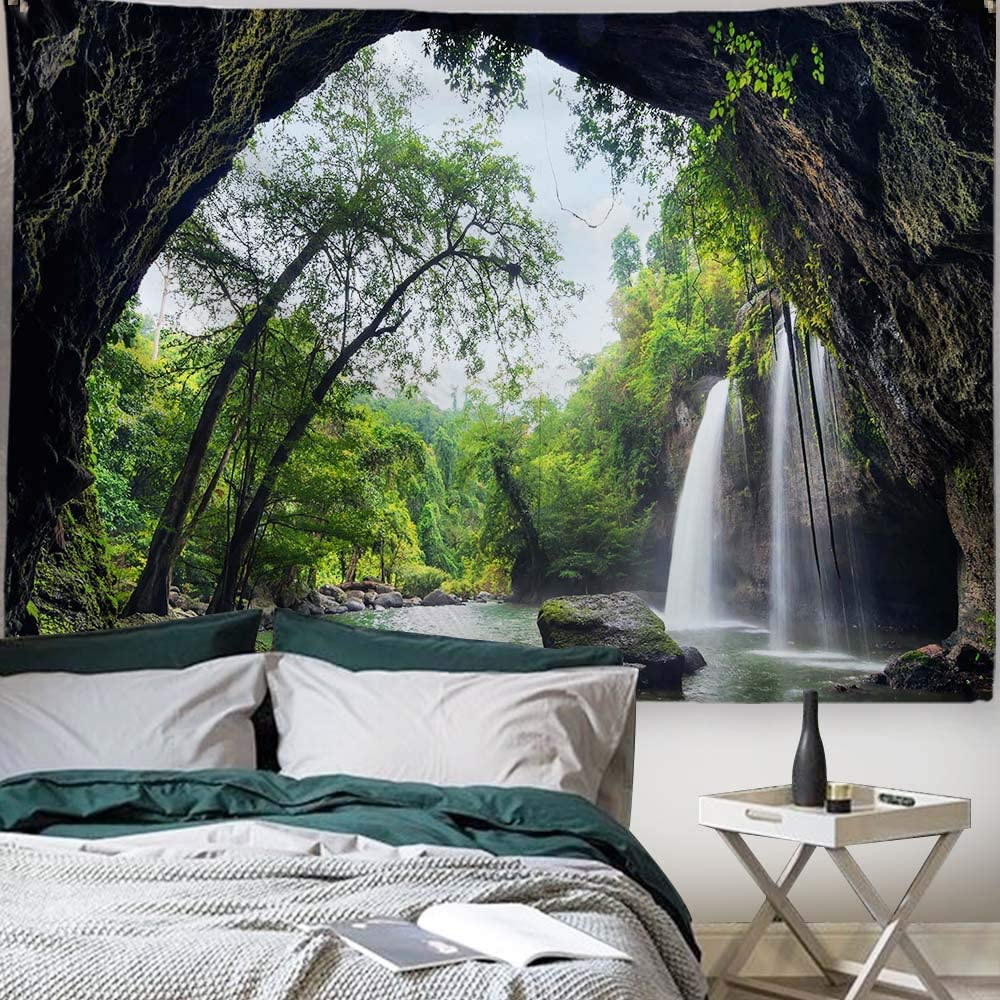 "PROCIDA Home Tapestry Wall Hanging Nature Art Polyester Fabric Tree Theme, Wall Decor For Dorm Room, Bedroom, Living Room, Nail Included - 80""W x 60""L (200cmx150cm) - Mountain Waterfall"