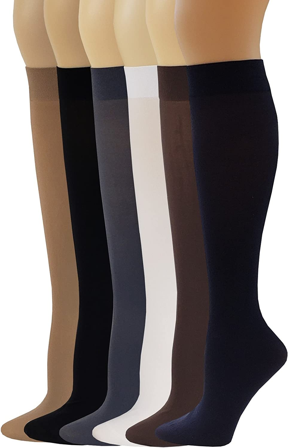 Silky Opaque Stretchy Nylon Knee Highs With Spandex 6 Pairs Womens Trouser  Socks Clothing Women