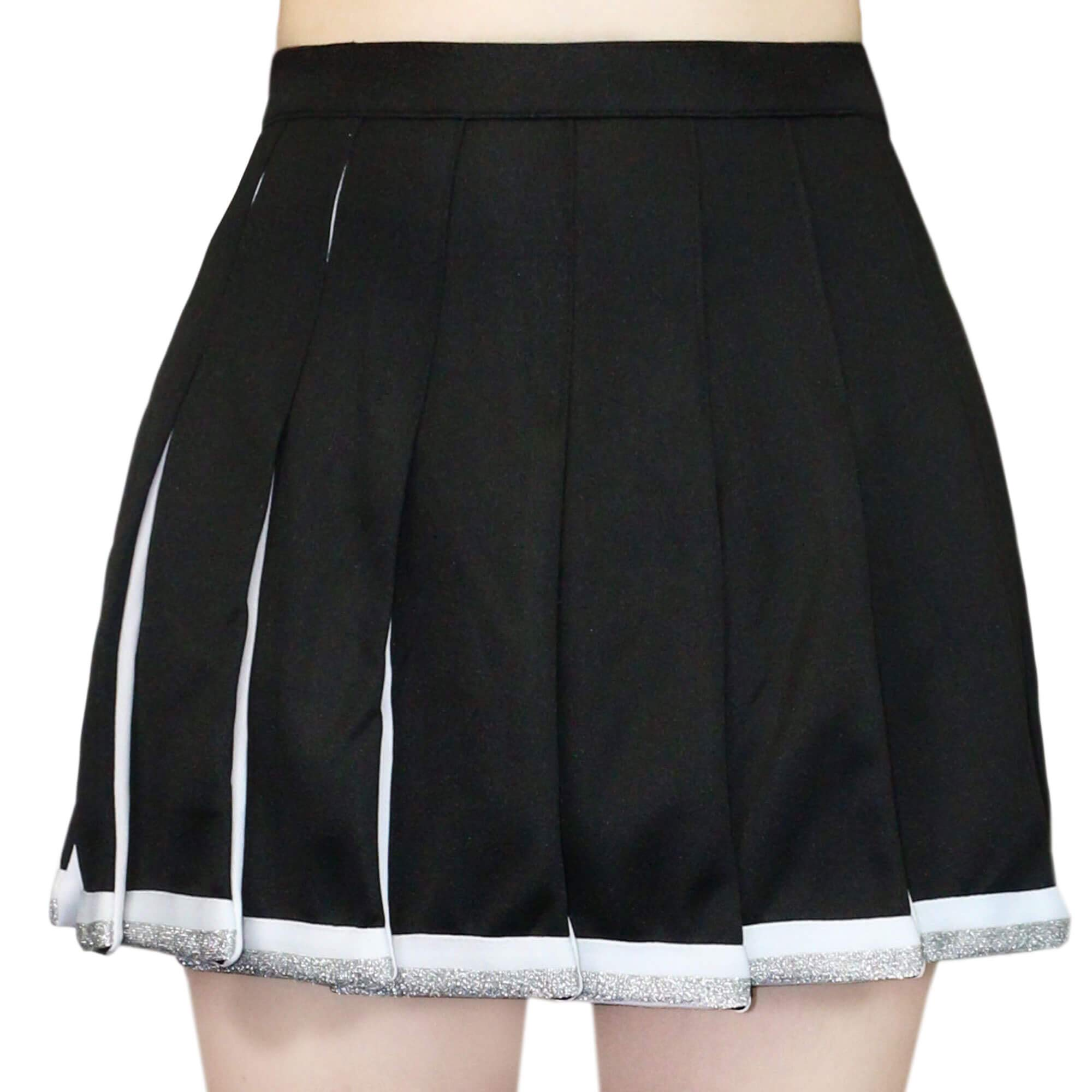 Danzcue Adult Cheerleading Pleated Skirt, Black-White, X-Small by Danzcue
