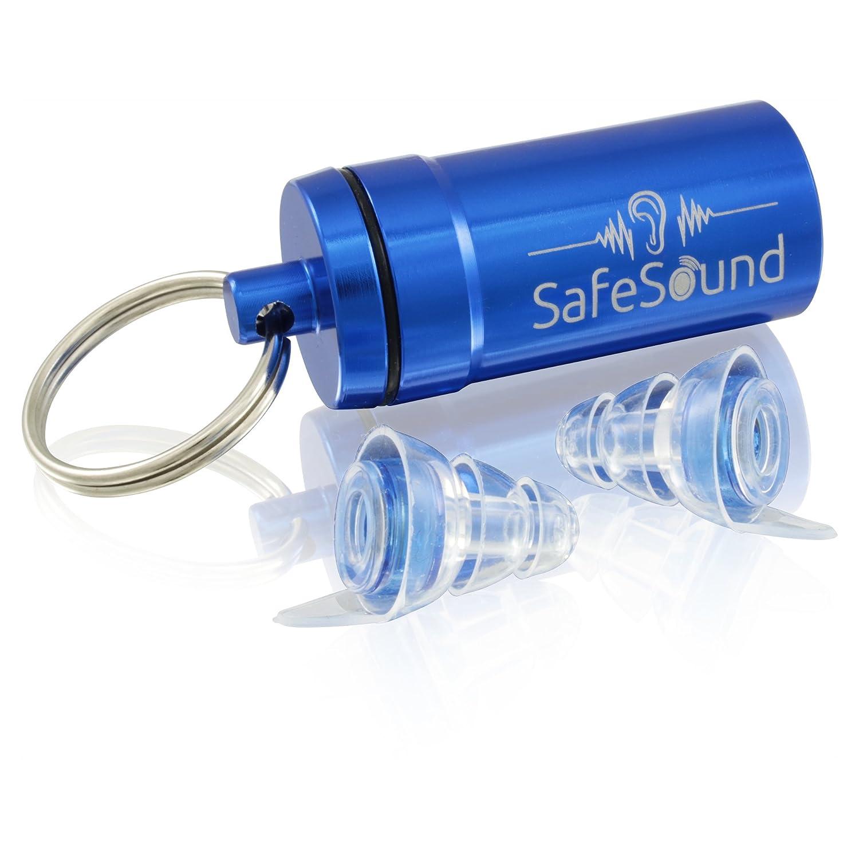 SafeSound Premium Gehörschutz Ohrstöpsel perfekt geeignet fürs Schlafen(Anti-Schnarchgeräusche), Flugzeug, Konzert, Reisen+ Blauer Alubehälter – Wiederbenutzbar mit zertifizierten Filter (Small)