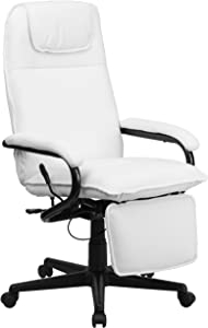 Flash Furniture High Back White LeatherSoft Executive Reclining Ergonomic Swivel Office Chair with Arms