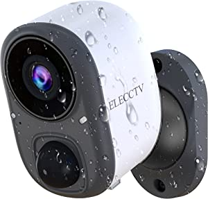 ELECCTV Wireless Outdoor Security Cameras with Motion Sensor, 1080P Video Indoor WiFi Surveillance for HomeLife Alarm System, Support Infrared Night Vision, 2-Way Audio & SD Slot, Battery Powered