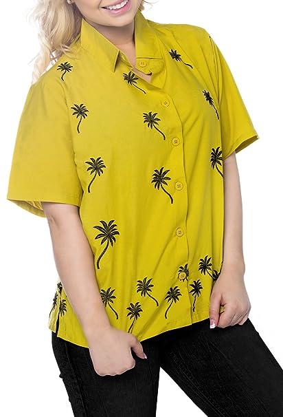Blusas de la Camisa Hawaiana botón de Ajuste Relajado Mujer Mangas Cortas hasta la Parte Superior de Mostaza: Amazon.es: Ropa y accesorios
