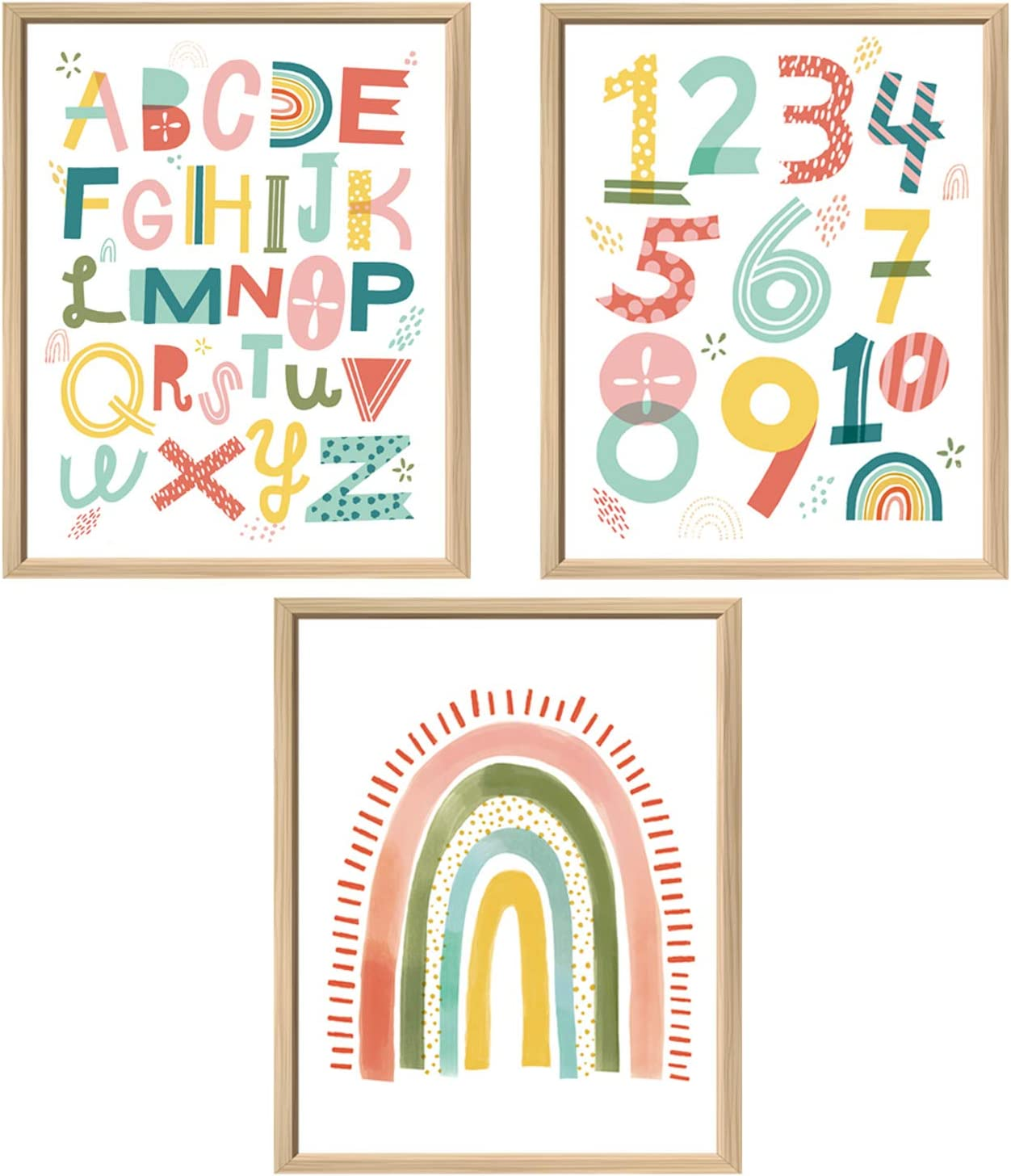 Nursery Wall Decor 3 Double-Sided Kids Posters | Alphabet Poster, 123 & Rainbow Decor | Kids Room & Playroom Decor Wall Art, Baby Girl/Boy Room Decor | ABC Poster for Toddlers Wall
