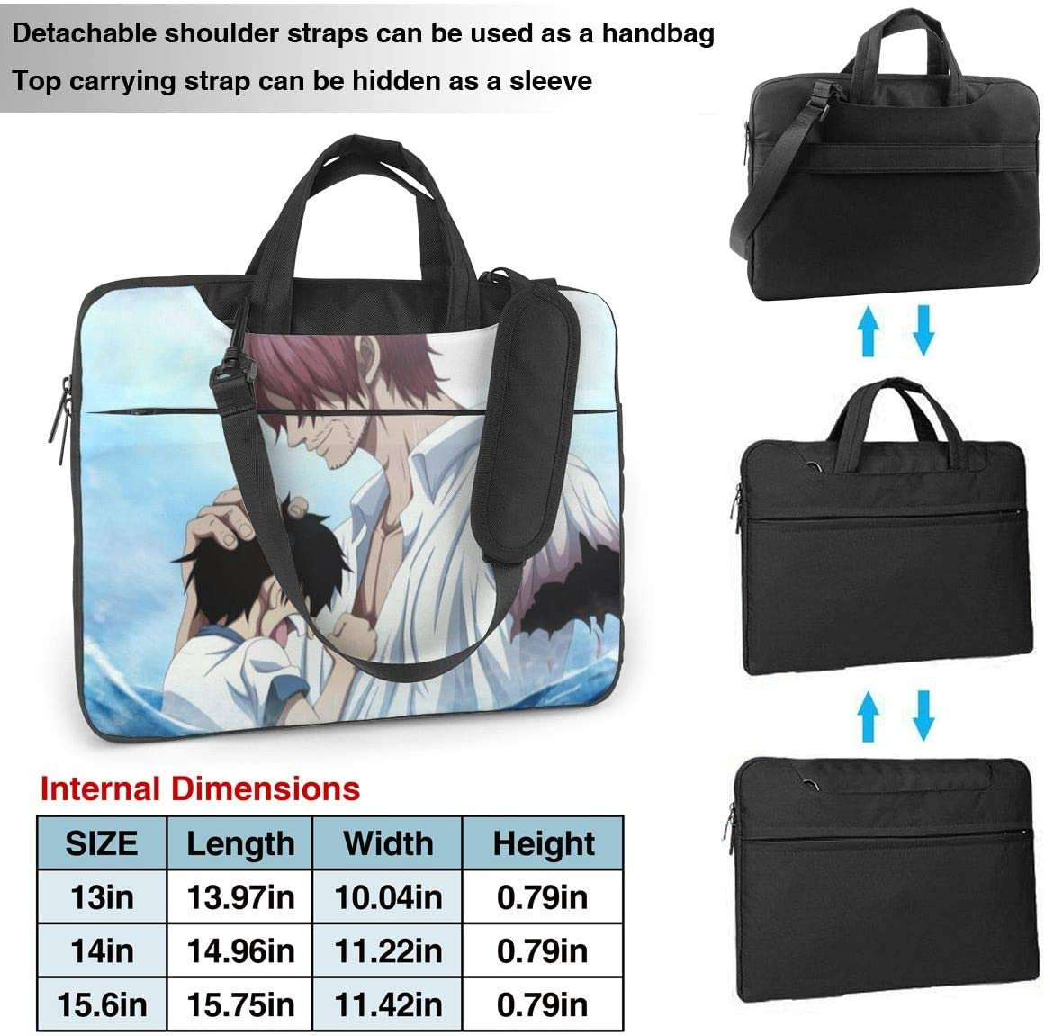 Laptop Sleeve Bag Anime Boys One Piece Straw Hat Luffy Laptop Sleeve Case Cover 15.6 inchTablet Briefcase Notebook Sleeve Case