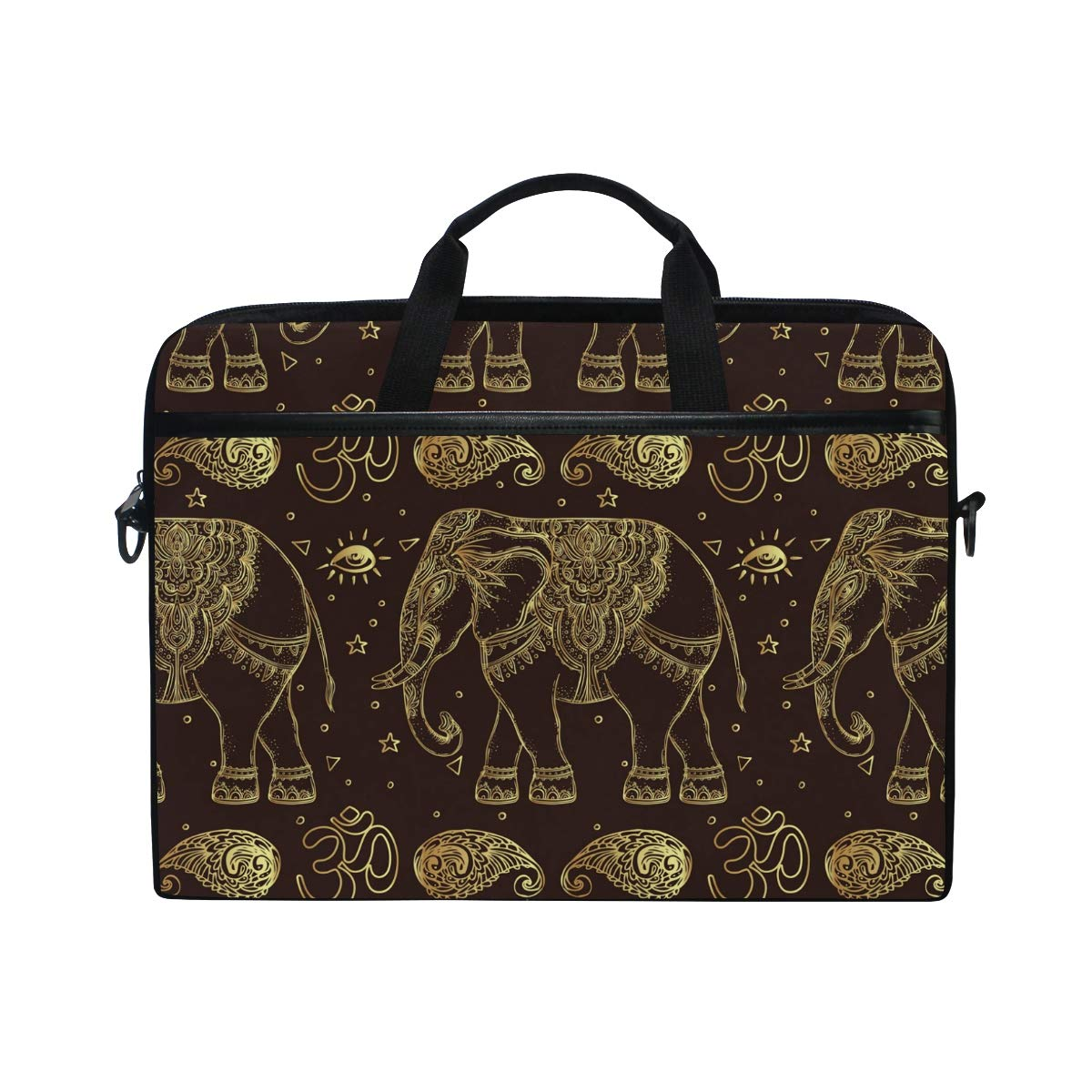IMOBABY Ethnic Mandala Elephant Tribal Laptop Bag Canvas Messenger Shoulder Bag Briefcase Fits 15-15.4 inch g7442656p195c229s328