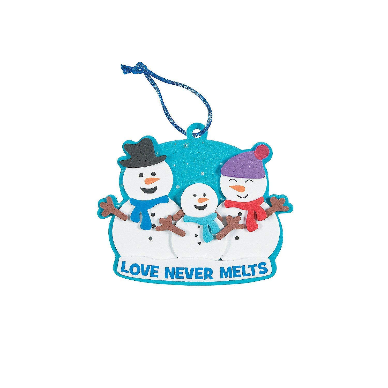 Snowman Family Christmas Foam Ornament Craft Kit-Makes 12-Classroom Activity