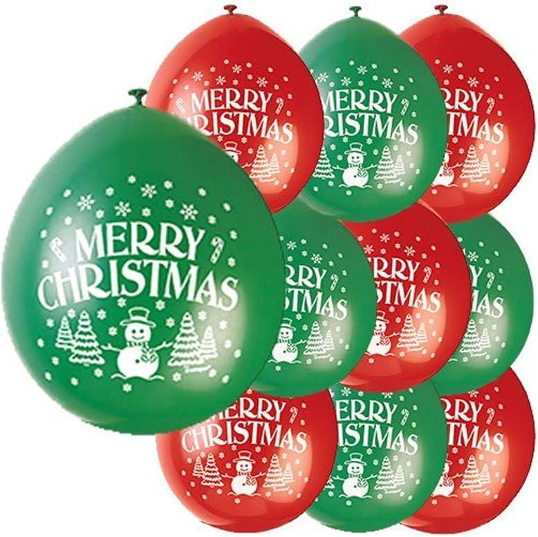 Unique Party - Globos de Látex de Feliz Navidad - 23 cm - Color Rojo y Verde - Paquete de 10 (80353) , color/modelo surtido