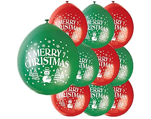 "Unique Party 80353 - 9"" Latex Merry Christmas Balloons, Pack of 10"