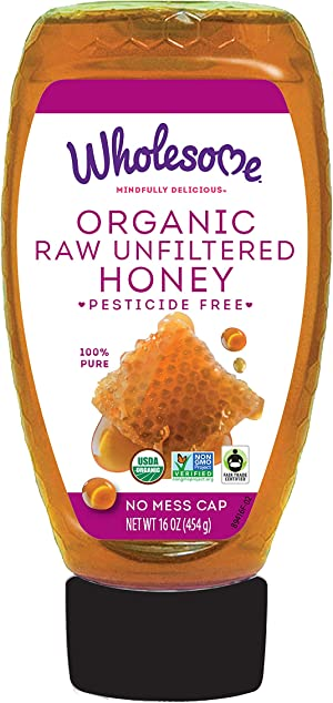 Wholesome Organic Raw Unfiltered Honey, Pesticide Free, Fair Trade, Non GMO & Non Glyphosate, 16 Ounce Squeeze Bottle (Pack of 1)