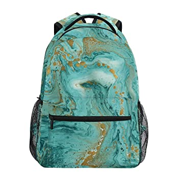 Image Unavailable. Image not available for. Color  ZZKKO Turquoise Marble  Backpacks College School Book Bag ... 069e05e805
