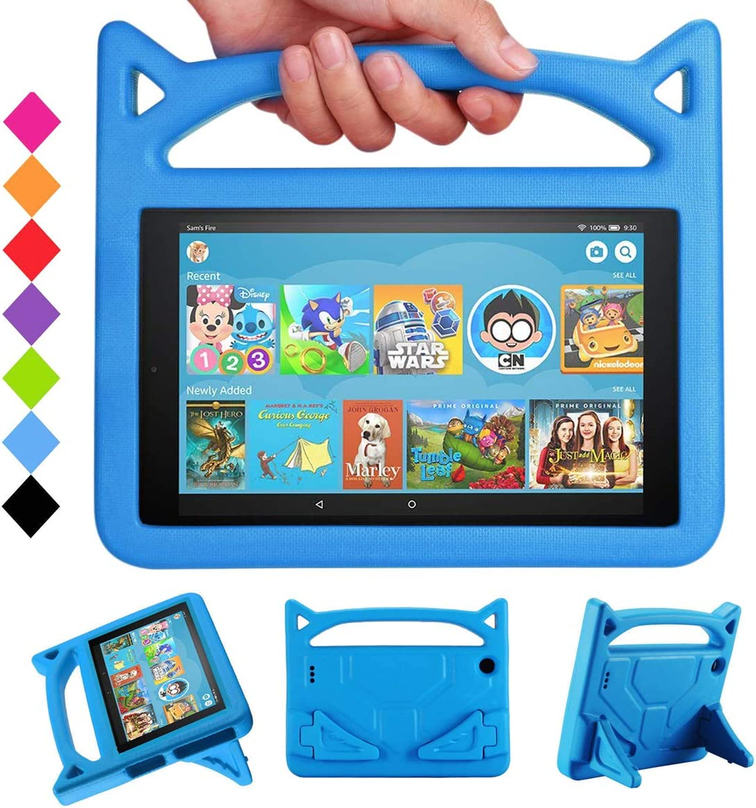"Case for All-New HD 10 Kids Tablet (2015/2017/2019 Release) - Mr. Spades [Multi-Angle Viewing] Shock Proof Light Weight Convertible Handle Stand Kids Friendly Cover for HD 10.1"" Tablet - Blue"