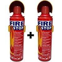 HappeStop Aluminum Flame Retardant Fuild Portable Fire Extinguisher,500ml, Red(Set of 2)