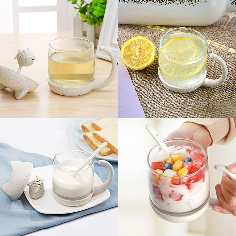 Tea Cup KIDAC Novelty Glass Teacup with Cute Cat lid and Fish Tea Infuser 8.5 OZ./250 ml