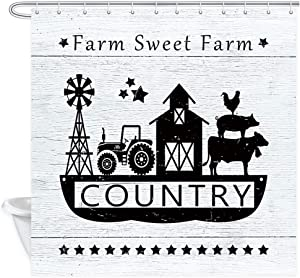 Farmhouse Shower Curtain, Rural Farm Houses Windmill Tractor and Farm Cow Pig Chicken on Rustic Wooden Board Shower Curtains, Countryside Village Rural Life Bathroom Decor 12PCS Hooks, 69X70IN