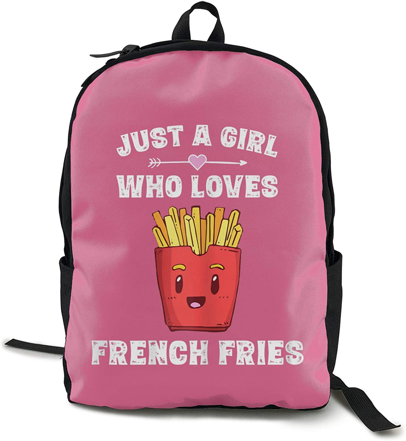 IUBBKI Mochila lateral negra Mochilas informales Zwinz Just A Girl Who Loves French Fries Funny Printed Backpack Lightweight Shoulder Bag