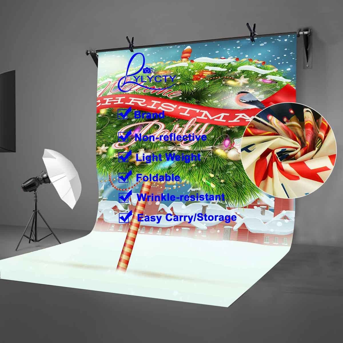LYLYCTY 5x7ft Merry Christmas Backdrop Christmas Tree Christmas Happy Party Photography Backdrop Photo Studio Background Props LYNAN415